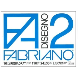 BLOCCO DISEGNO F2 24X33 20 FG. FABRIANO RIQUADRATO 110 GR.