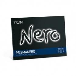 ALBUM DISEGNO A PUNTI METALLICI NERO 128 GR. 24X33 10 FF. RUVIDI PRISMANERO FAVINI